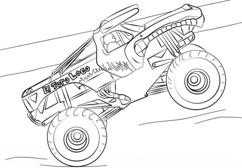 El Toro Loco Monster Truck Kleurplaat Grafiki Ilustracje Do