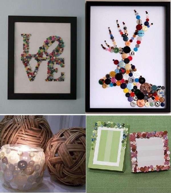 cuadros y objetos decorados con botones