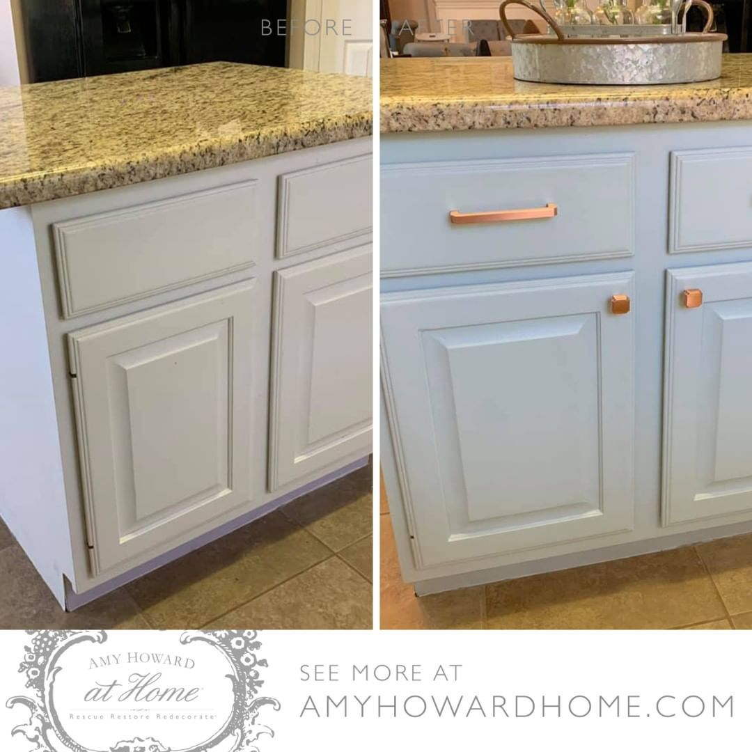 Amy Howard Home On Instagram All It Took Was Some French Blue One Step Paint To Jazz Up Amy Stained Kitchen Cabinets Kitchen Cabinets Painted Vanity Bathroom