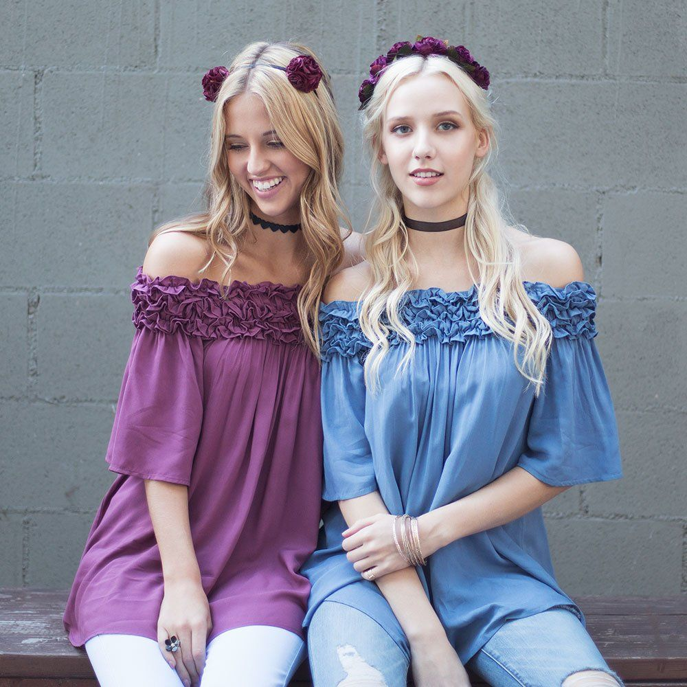 She + Sky's Off Shoulder Tunic With Ruffle Ruching Is Back