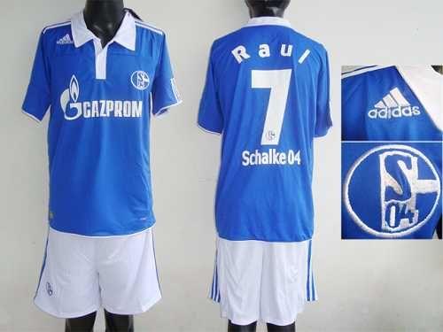 Schalke 04 7 Raul Baby Blue Home Soccer Club Jersey Emillia Kelly Soccer Club Jersey Soccer Sports Baby Blue