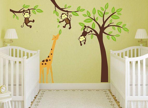 jungle monkeys tree with Giraffe nursery wall decor decal woodland ...