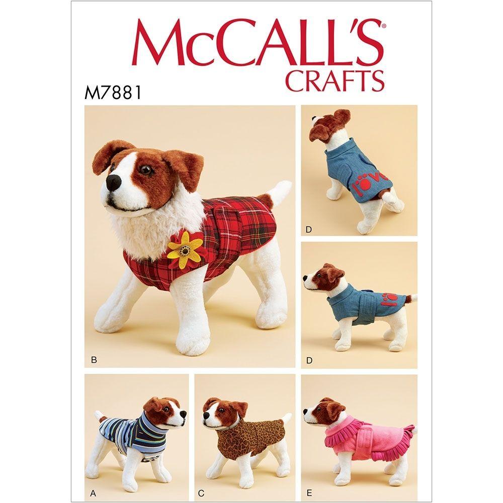 Dog Coats McCalls Sewing Pattern 7881. Size XS-XL
