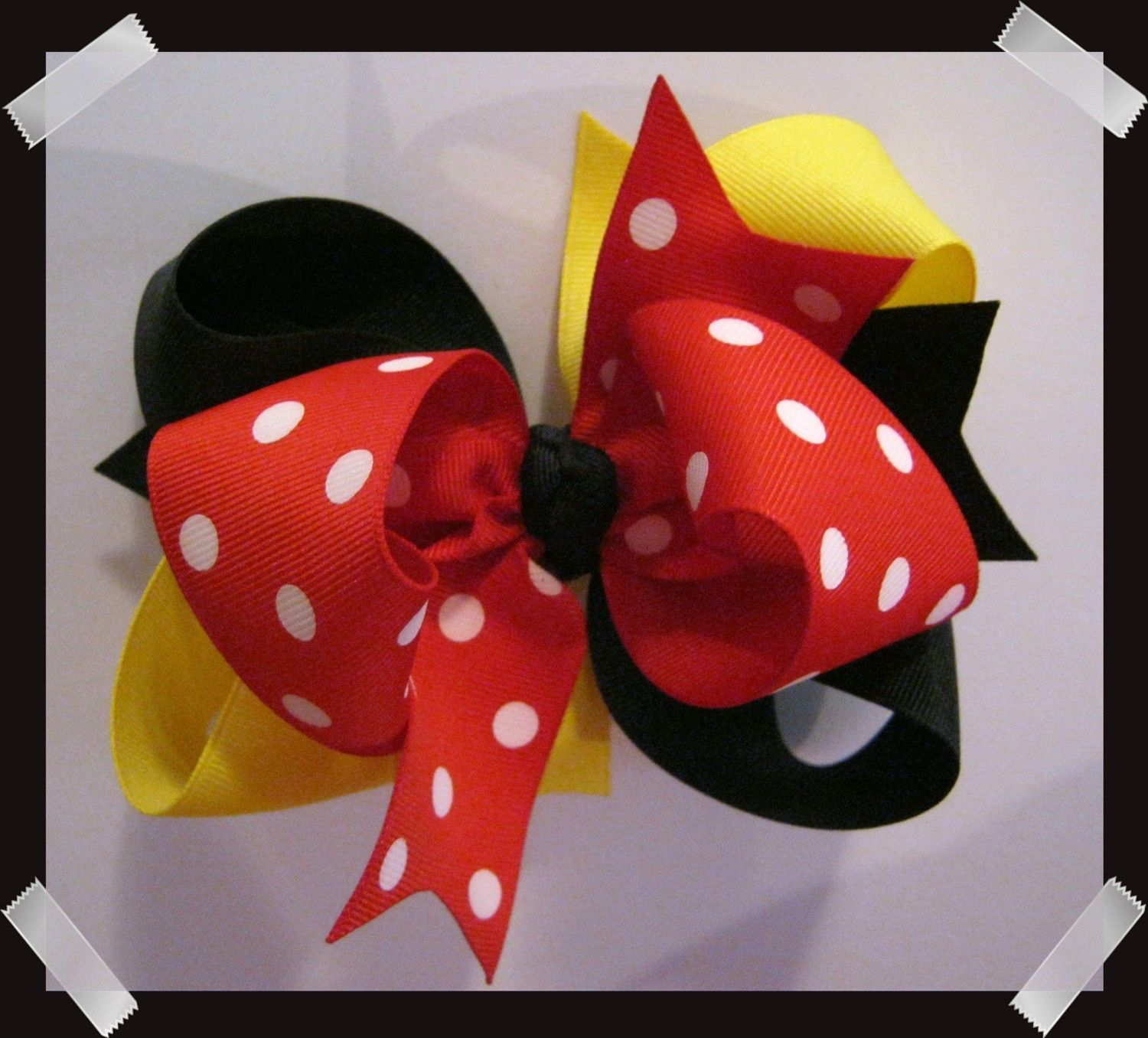 Made 2 Match Mouse Inspired Large 5 inch Black Yellow Red and White Dots Triple Loop Grosgrain Hair Bow