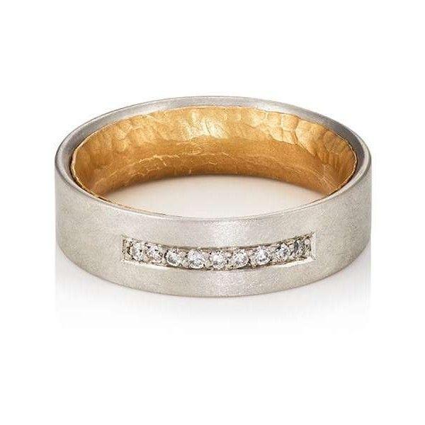Malcolm Betts Womens White-Diamond-Embellished Layered Band wEf1Hy