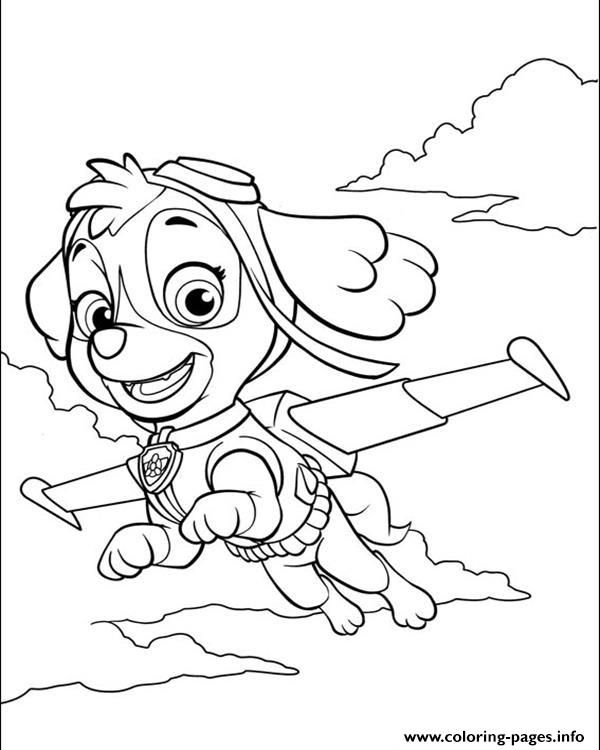 Print paw patrol skye is flying coloring pages | Paw ...