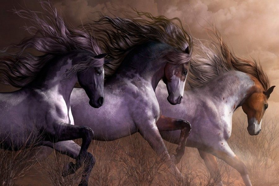 3 Horses Running Wild Natural Animal Art Silk Canvas Wall Oil Painting Style Poster Print Picture For Gift-in Painting & Calligraphy from Home & Garden on Aliexpress.com | Alibaba Group