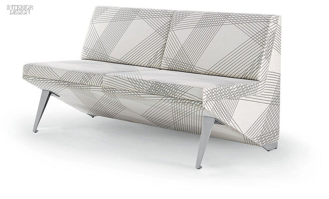 Crazy Eight: Products With Lines, Squares and Circles | Infinium modular seating in aluminum and Momentum Group's Crossing Colors cotton-nylon by Arcadia Contract. #design #interiordesign #interiordesignmagazine #seating
