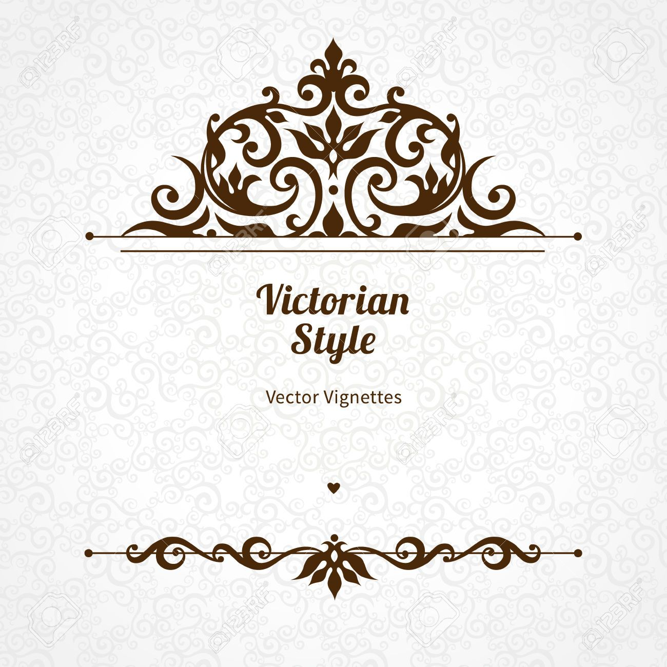 Vector floral vignette in victorian style on scroll work background