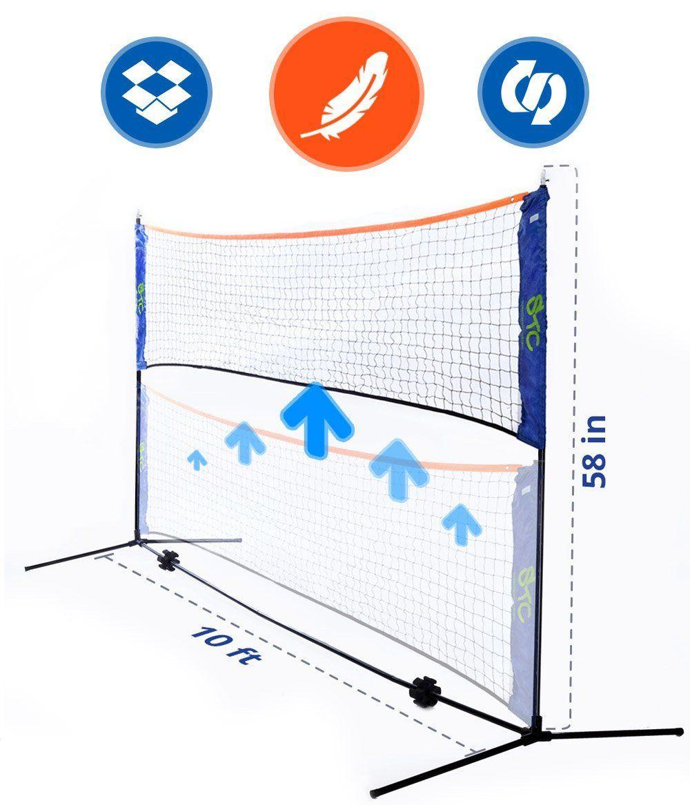 Amazon Com Street Tennis Club Portable 10 Foot Long And 5 Foot High Adjustable Height Badminton Volleyball Tennis And Soccer Tennis Tennis Nets Badminton