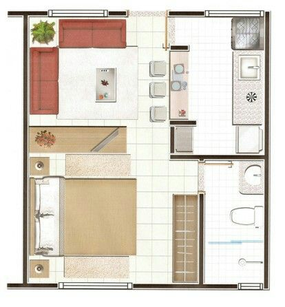 Planta 1 quarto architecture Pinterest Tiny houses, Apartments