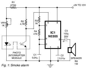 555timer based water level controller free electronics circuits really simple smoke alarm circuit design consists of two important modules sensor using a photo interrupter module and alarm using a tone generator publicscrutiny Choice Image