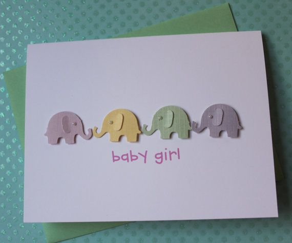 Handmade Baby Card Baby Shower Card New Baby Card Welcome Baby Girl Gift Card 3D Pink Lavender Yellow Green Elephants and Pearls on White Cardstock via Etsy