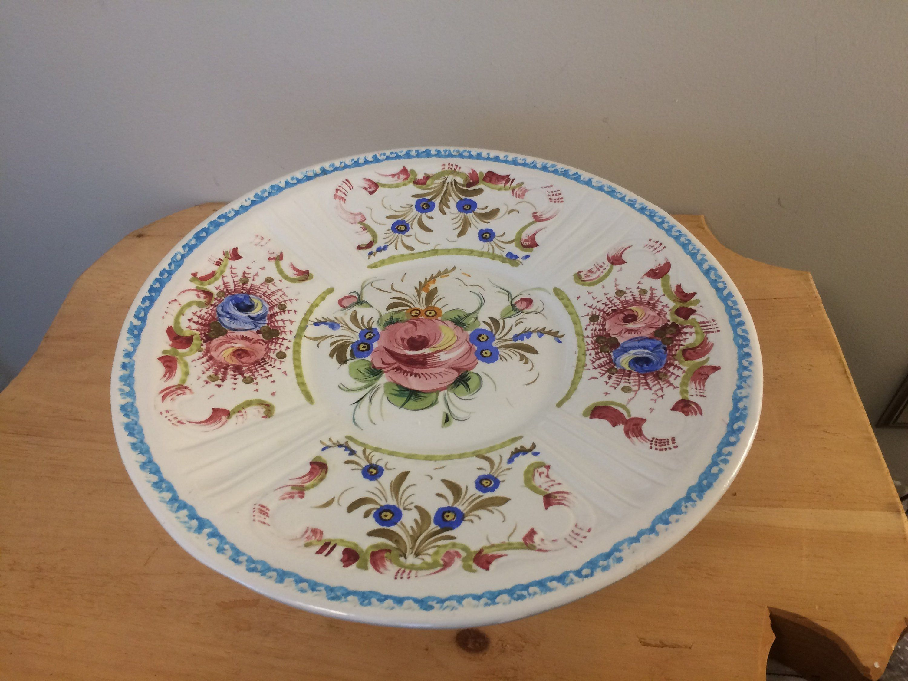 Very Large Floral Italian Cake Platter, Cake Stand, Cake Plate