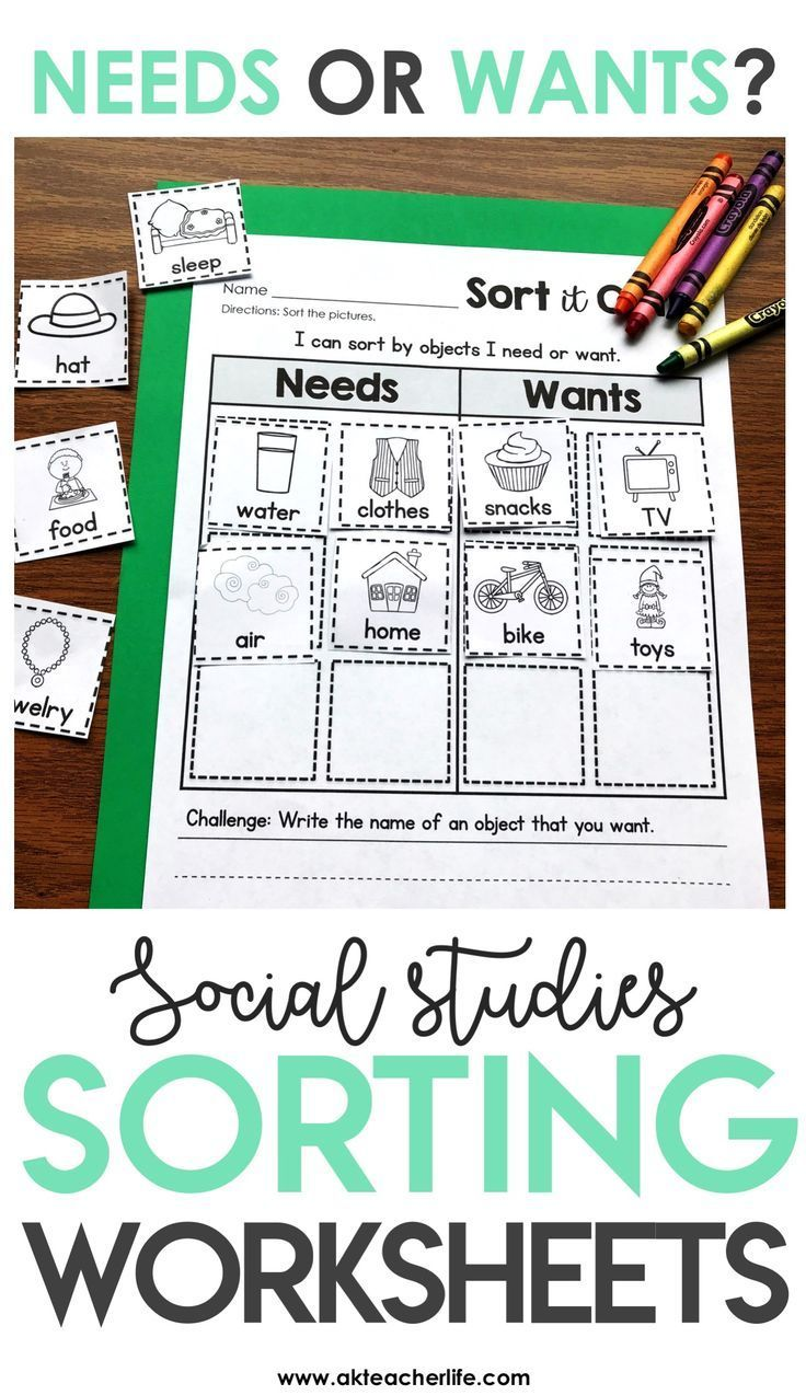 Needs and Wants Sort Sort it Out Kindergarten social