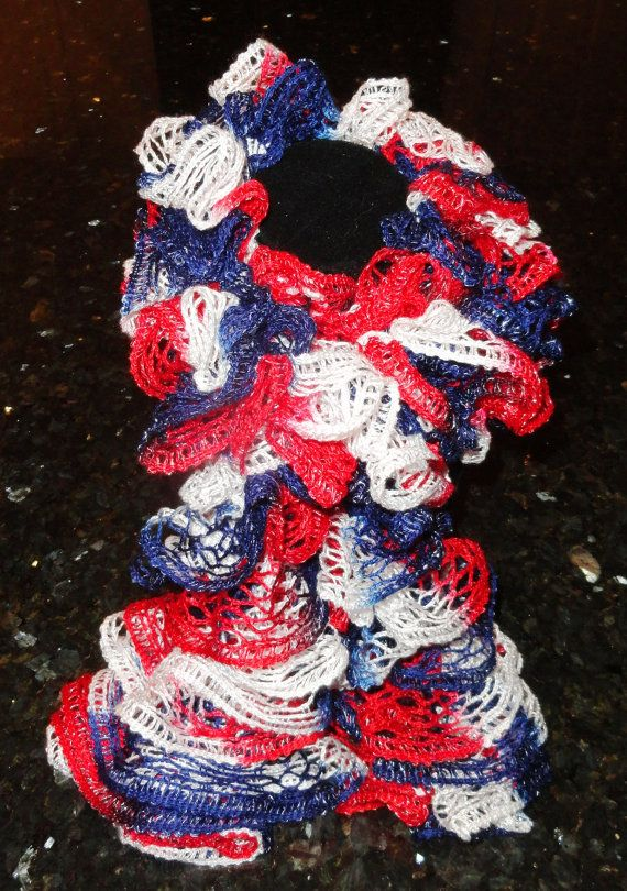 Red White And Blue Patriotic Hand Knit Sashay Ruffle Scarf Sashay