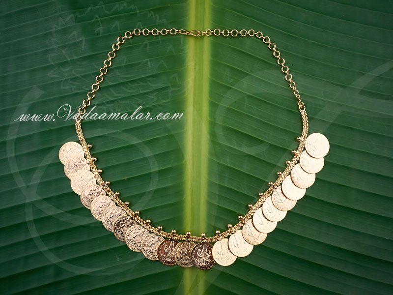 Traditional Micro Gold plated Goddess Lakshmi Embossed Coin Necklace