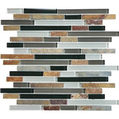 Sassi Cool Earth Linear Slate Glass 12 149 Home Depot Canada Backsplash