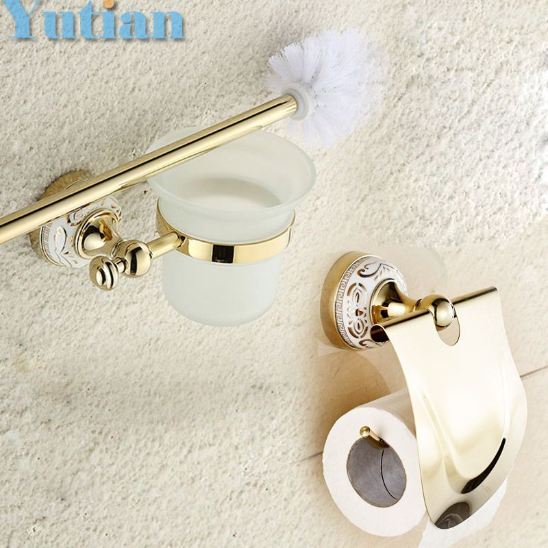Free Shipping Gold Color Bathroom Accessories Set Paper Holder Toilet Brush