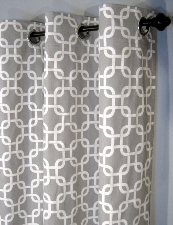Grey and White Gotcha Curtains with Grommets - Two Curtain Panels ...
