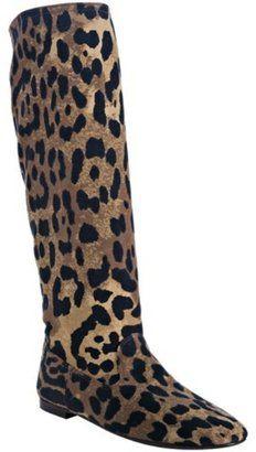 f5826541bf0 ShopStyle: Yves Saint Laurent tan leopard canvas 'Cheyenne 05' flat boots