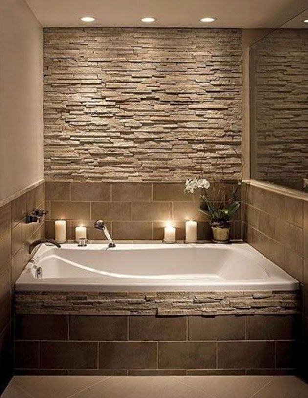 Paredes de piedra decorativa para interior 30 fotos e - Banos con paredes de piedra ...