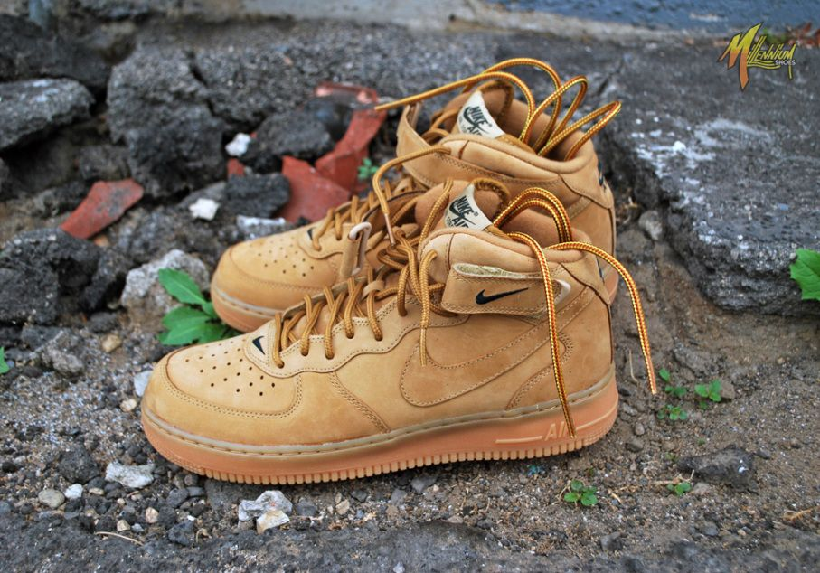 nike air force 1 mid flax wheat