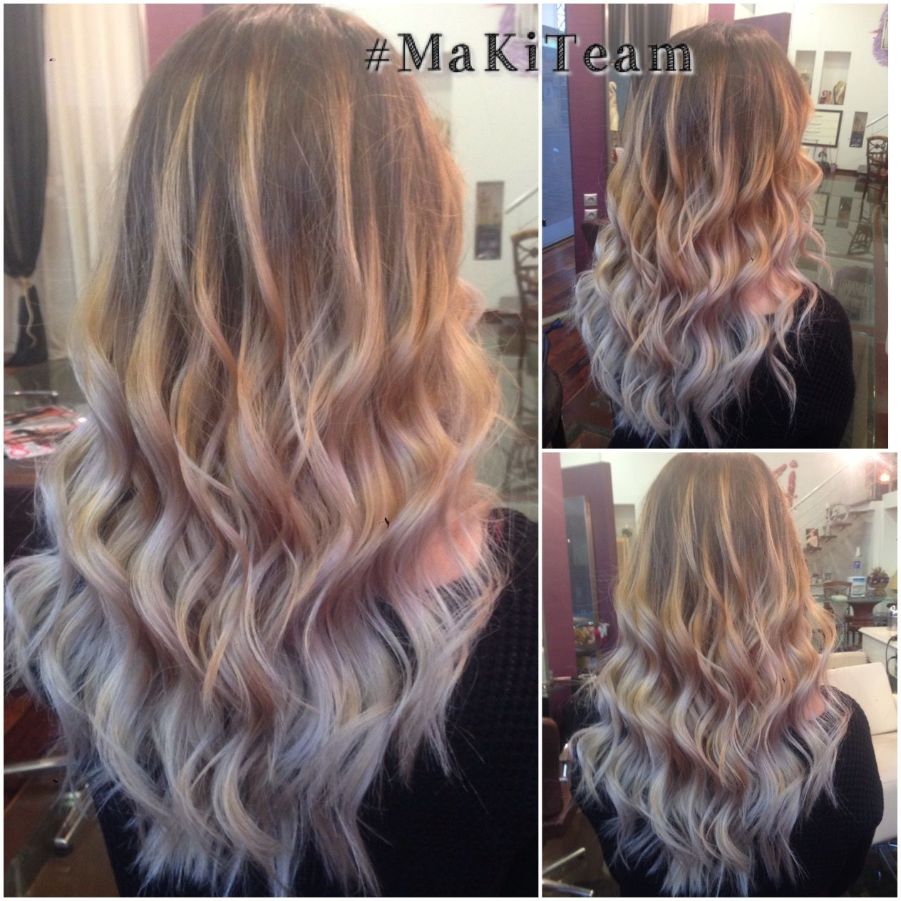 Balayage Blonde Hair With Silver Ends Wavy Long Hair By Maria