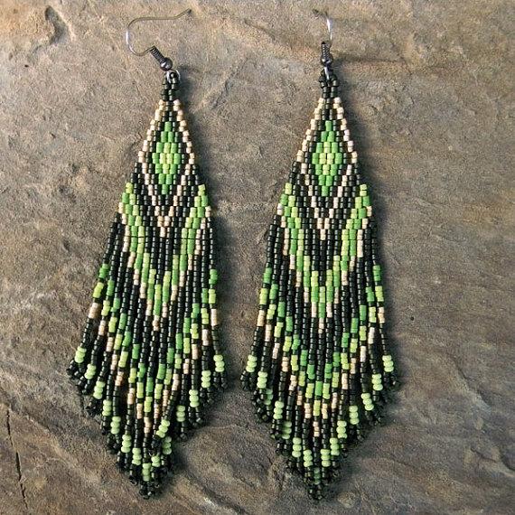 Long  Tribal / Boho Seed Bead Earrings in green by Anabel27shop
