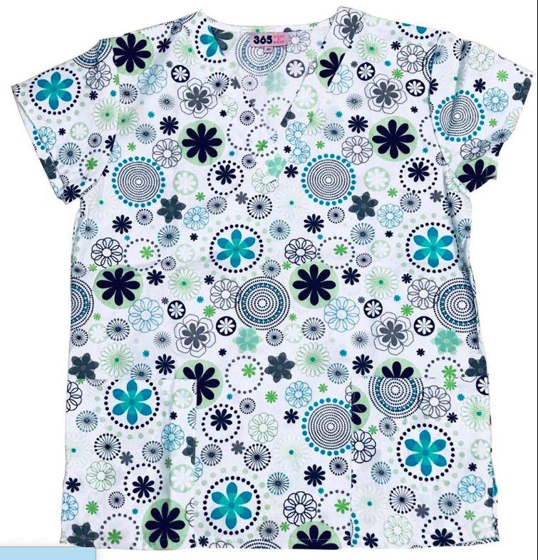 571602a3b50 Zikit Womens Fashion Medical Nursing Scrub Tops Printed Blue Green Gray  Petal XL #fashion #clothing #shoes #accessories #uniformsworkclothing # scrubs (ebay ...