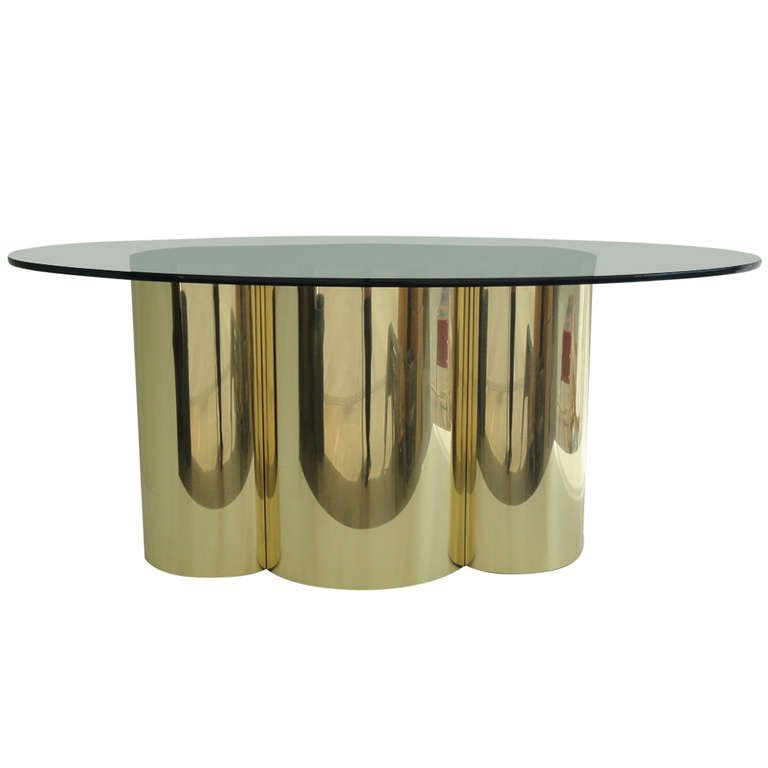 Mastercraft Polished Brass Quatrefoil Dining Table | From a unique collection of antique and modern dining room tables at http://www.1stdibs.com/furniture/tables/dining-room-tables/