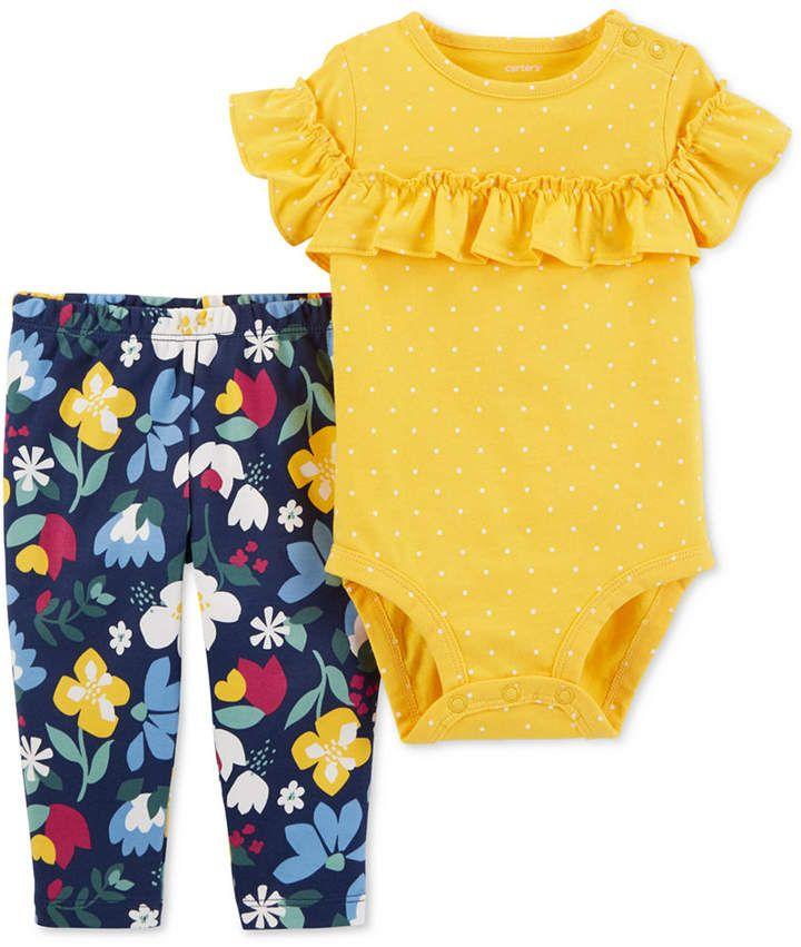 5af7772854ff Carter s Baby Girls 2-Pc. Cotton Bodysuit   Floral-Print Pants Set ...