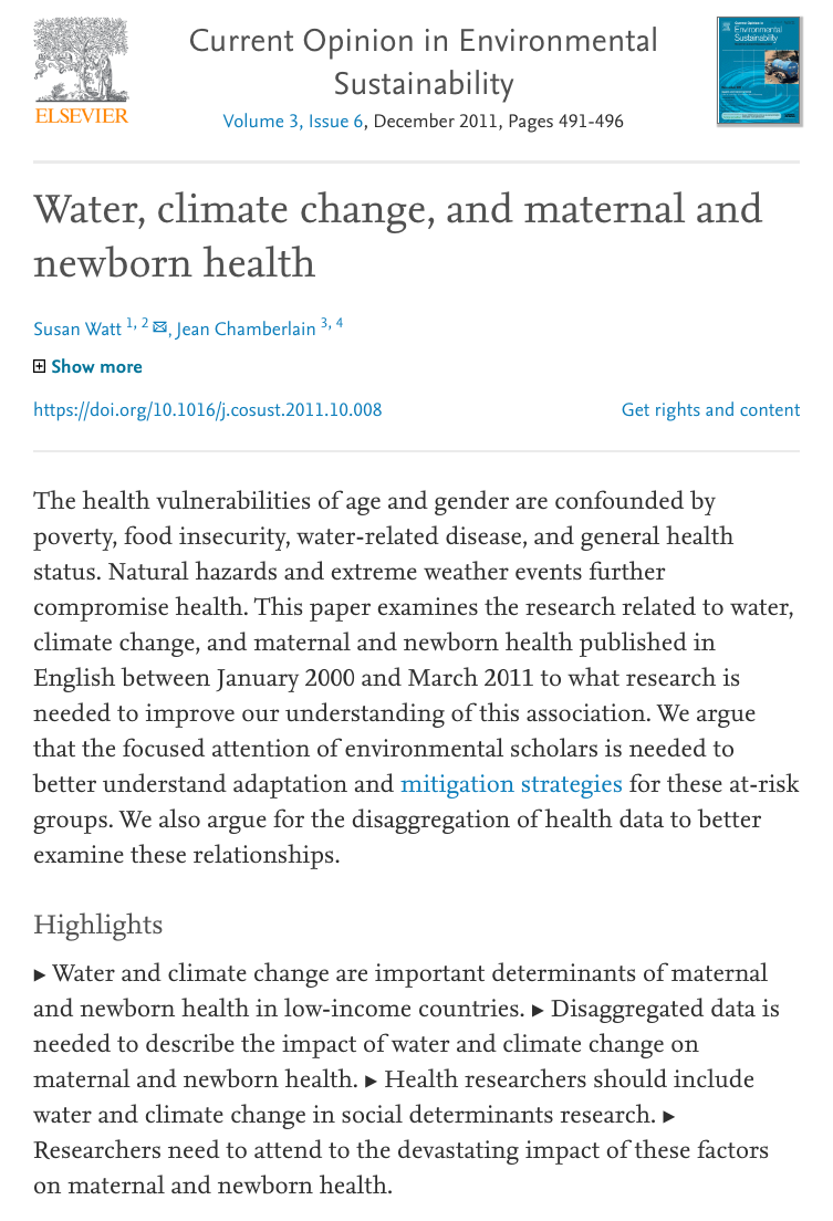Watt S And Chamberlain J 2011 Water Climate Change And Maternal And Newborn Health Current Opinion In Environm In 2020 Newborn Health Climate Change Climates