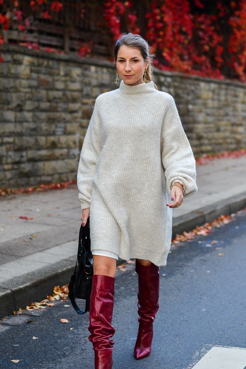 Red Autumn :: Zara Strickkleid & rote Boots | Strickkleid ...