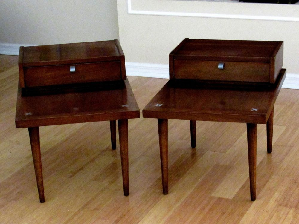 48f3964ad43d Pair of (2) American of MARTINSVILLE Step End Tables Drawers Mid Certury  Metal X  MartinsvilleAmerican