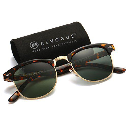 d16a369cde AEVOGUE Polarized Sunglasses Semi-Rimless Frame Brand Designer Classic  AE0369 (Tortoise G15 48)