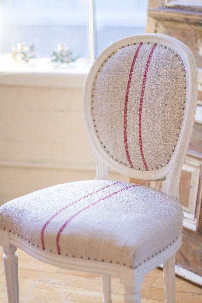 Silla tela de lino rayas vintage lino r stico for Sillas comedor tapizadas tela