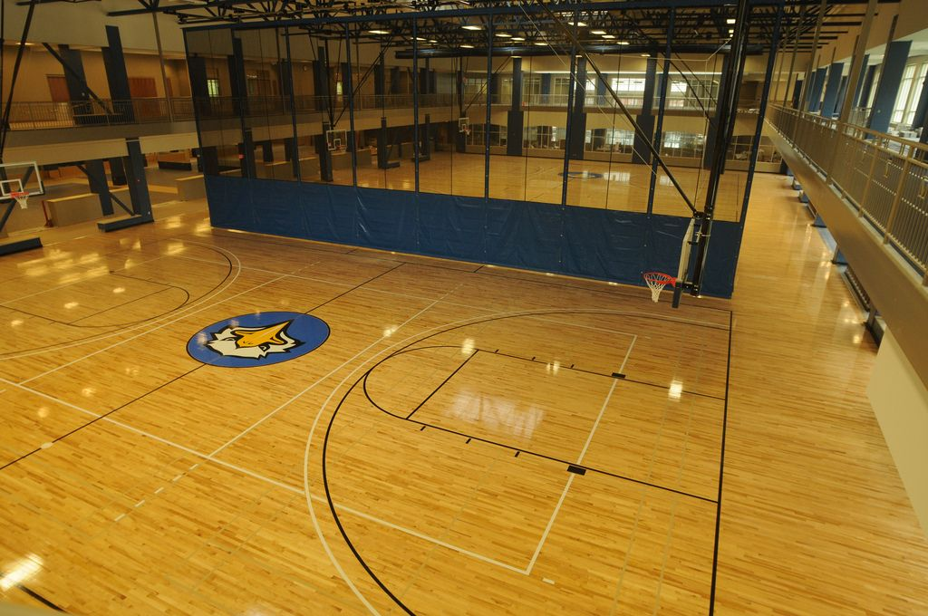 View of the basketball courts inside the Recreation and