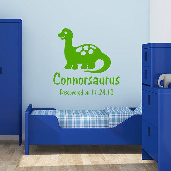 Dinosaur Decal Personalized Vinyl Decal Boy Name Monogram - Custom vinyl wall decals dinosaur