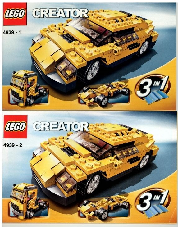 Lego Creator 4439 3 In 1 Cool Cars Instruction Booklet Manuals Only