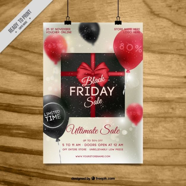Black Friday Flyer Template With Balloons Free Vector  My Work