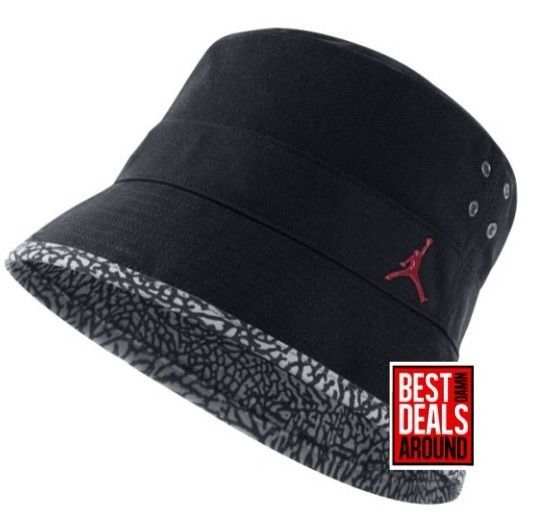 1cad2012340 NIKE Jordan Jumpman Elephant Print Youth Boys Kids Bucket Hat Cap Black  Michael  AirJordan  Bucket