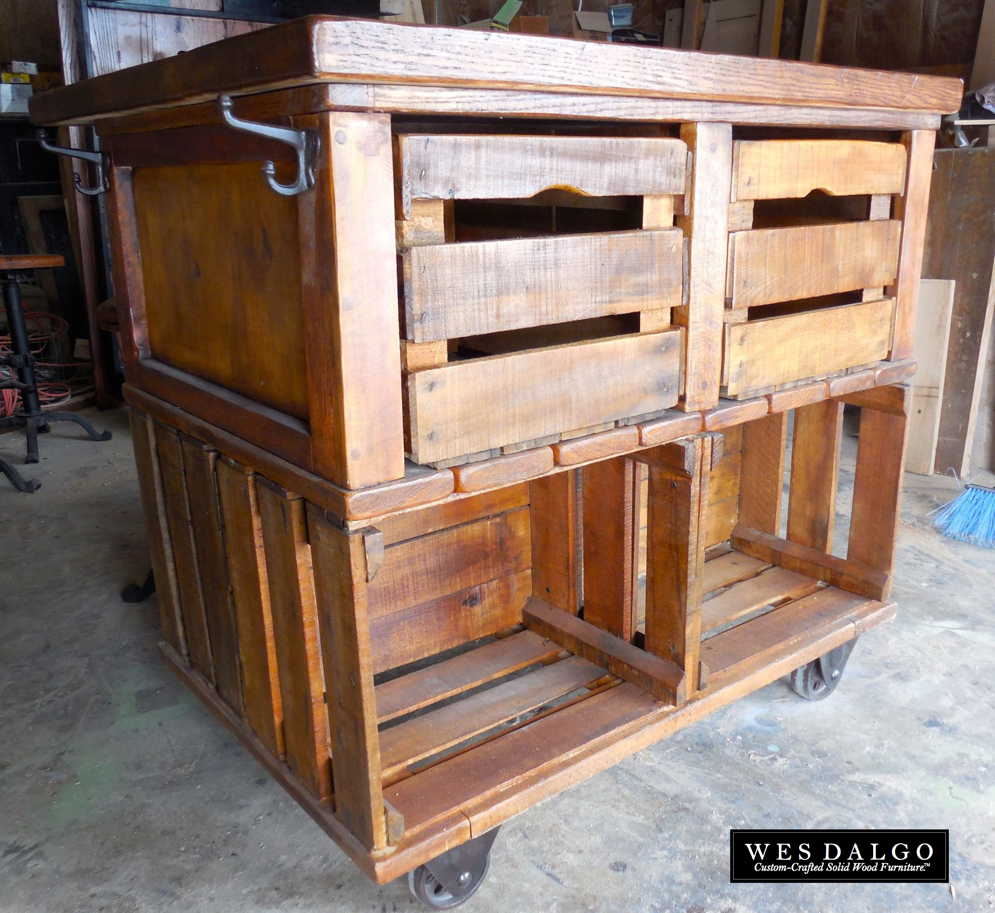 Apple Crate Rustic Farmhouse Kitchen Island Cart