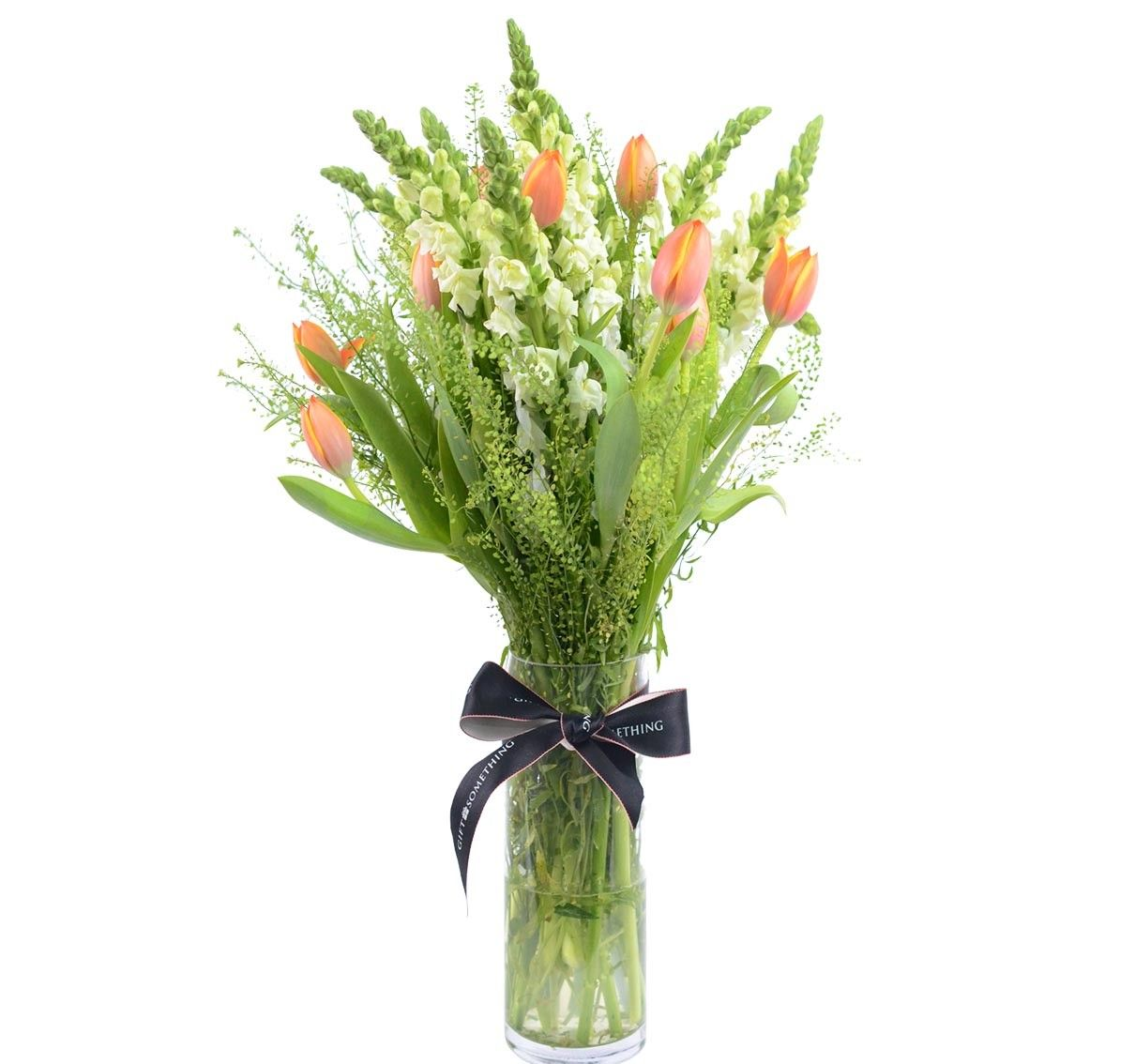 Tulips & Snapdragon with Vase Anniversary flowers