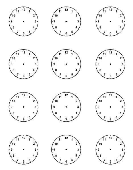 Printable Blank Clock Face Worksheets