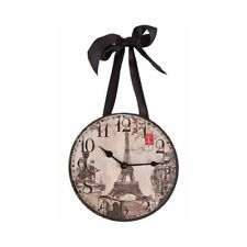"""Wall Clock - """"Paris/Eiffel Tower"""" Vintage Images -w/Satin Ribbon for hanging!"""