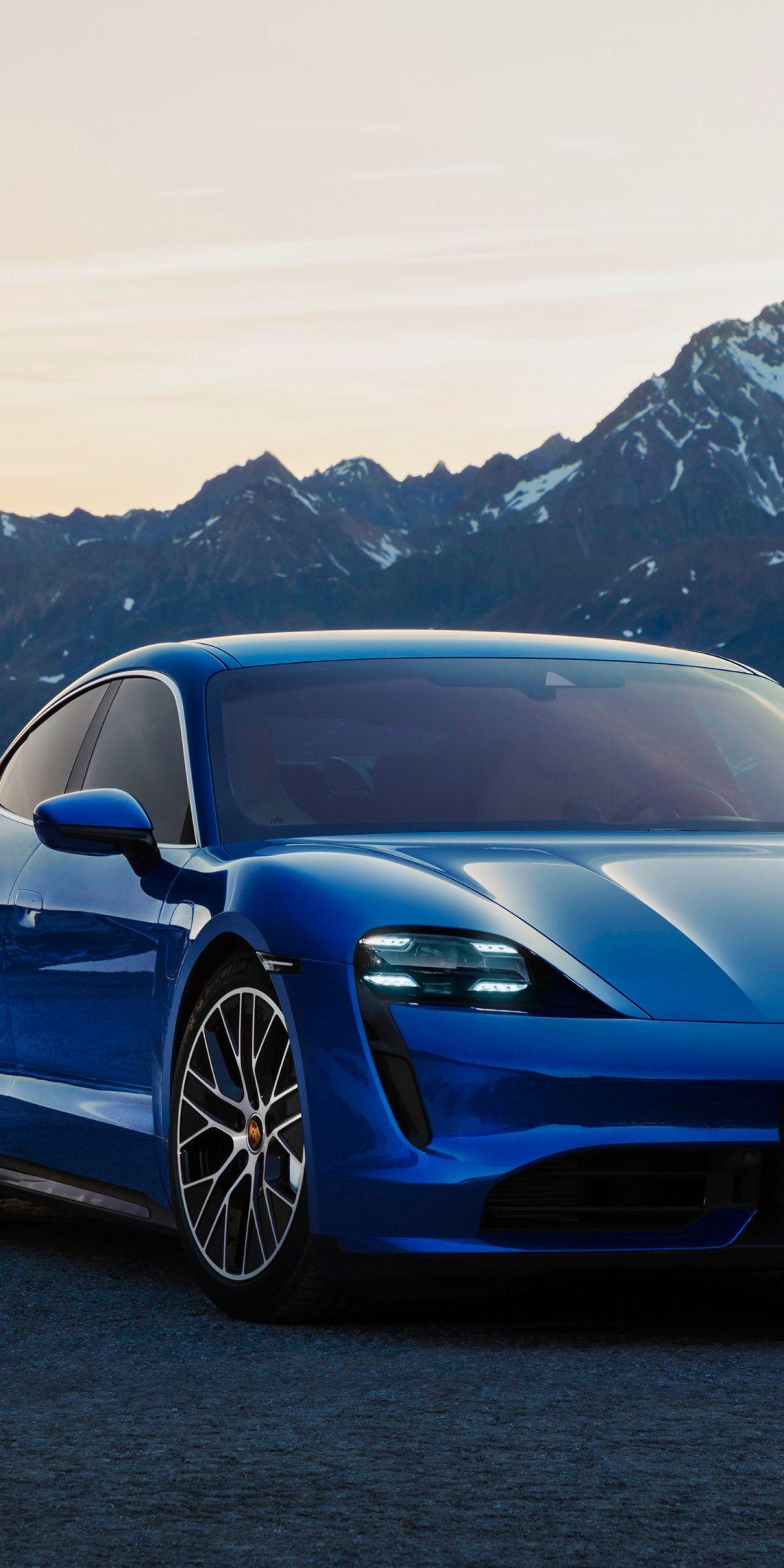 1080x2160 Blue car, Porsche Taycan Turbo, 2019 wallpaper