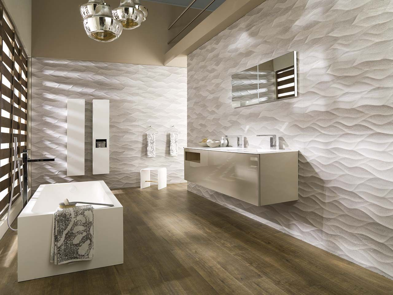 Ba o estilo contemporaneo marron blanco gris ba os pinterest brillo blanco yeso y brillo Porcelanosa banos pequenos