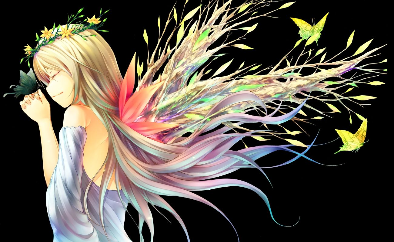 anime girl with butterflies and branches Anime, Desenhos