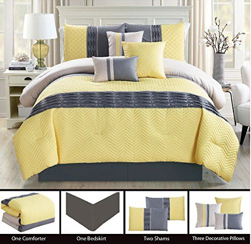 Modern 7 Piece California Cal King Bedding Yellow Grey Zigzag Chevron Quilted Comforter Set With Accent Pillows Yellow Bedding Comforter Sets Cal King Bedding